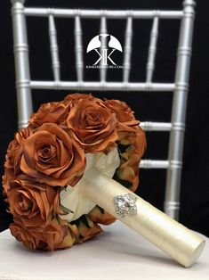 BURNT ORANGE Bridal Bouquet With BROOCH Handle. Burnt Orange Bouquet. Burnt Orange Brooch Bouquet. Burnt Orange Wedding. Qunceanera Bouquet. Pick color!! Bouquet measures approximately 11 wide and 13 in height.  This dreamy Flower Ball Centerpiece, Red Centerpieces, Mickey Centerpiece, Crown Centerpiece, Aqua Wedding, Rainbow Wedding, Burnt Orange Weddings, Blush Bridal Showers, Flower Girl Bouquet