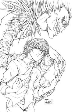 Death Note - Coloring Pages Anime Character Drawing, Manga Drawing, Manga Art, Character Art, Death Note Kira, Death Note Fanart, Anime Drawings Sketches, Anime Sketch, Lineart Anime