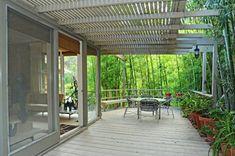 Love the overhang on the deck Mid Century Exterior, Trellis, Pergola, Deck, Outdoor Structures, Patio, Outdoor Decor, Image, Home Decor