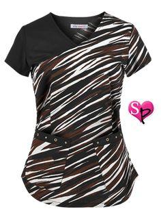 Koi Stretch Scrubs Stretch Running Zebras V Neck Top Style # K307RZB  #uniformadvantage #uascrubs #sophiespicks #scrubs #scrubtop