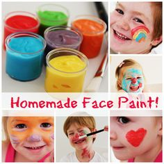 Homemade Facepaint Lotion, corn flour, water, and food coloring.
