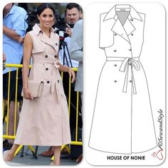 I love the blush color of the trench dress that duchessofsussex wore to the Nelson Mandela Centenary Exhibition. Fashion Line, Love Fashion, Fashion Design, Casual Dresses, Fashion Dresses, Summer Dresses, Clothing Patterns, Dress Patterns, Robes Glamour