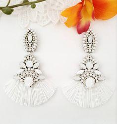 White Earrings, Boho Earrings, Statement Earrings, Earrings Handmade, Bridesmaid Earrings, Wedding Earrings, Ribbon Tutu, Teen Christmas Gifts, Wedding Inspiration
