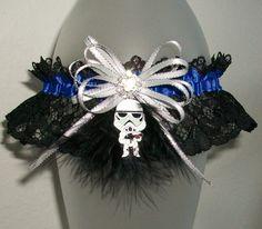 Star Wars Storm Trooper Prom 2016 Garter Blue Silver and Black Lace Rhinestone Glitz Glitter Sparkle Fur Feather Wedding Garter
