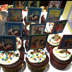 """Cupcakes for """"Book Theme"""" baby shower"""