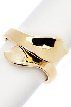 18K Gold Clad Polished Bypass Ribbon Cuff Bracelet