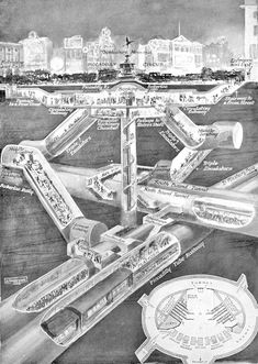 More Amazing Cutaways Of London Underground Stations London Underground Train, London Underground Stations, Underground Tube, Underground Cities, Piccadilly Circus, London Overground, Trains, Engineering Works, Liverpool Street