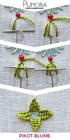 Blumen Sticken: Pikot Blume Tutorial