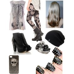 """Rockin the skulls"" by hayleycavanaugh on Polyvore"