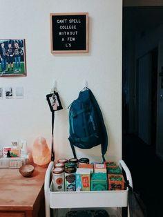 Perfect college dorm room tea or bar cart. Perfect Small D. - Perfect college dorm room tea or bar cart. Perfect Small Dorm Room or College - Small Dorm, Dorm Room Designs, Dorm Room Themes, Dorm Room Layouts, Cute Dorm Rooms, College Dorm Rooms, College Apartments, Dorm Room Desk, College Room Decor