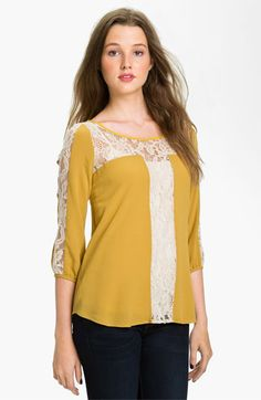 Lush Lace Trim Blouse (Juniors) available at #Nordstrom