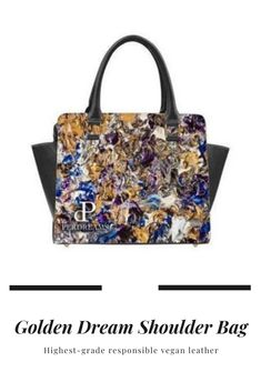 This statement bag comes from the artistic imagination of Maurice Perdreau and is crafted responsibly of vegan leather. It's fully lined and features sexy on-trend bottom rivet accents. Made with hand-crafted care in our exclusive Golden Dream art print design so you make a statement everywhere you go. #shoulderbag #bags #bagasforwomen #womensbag #leatherbag Leather Shoulder Bag, Leather Bag, Print Design, Art Print, Barrel Bag, Everywhere You Go, Dream Art, Signature Design, Handbags Online