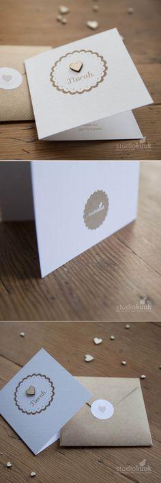 Geboortekaartje_meisje_brocante stijl_houten hartje_kant_kraft_handgemaakte envelop_sluitsticker #www.studiokuuk.nl