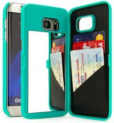Samsung Galaxy S7 Edge Teal Hidden Back Wallet Mirror Stand Case