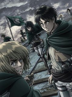 Shiganshina Trio season 2 Eren Jaeger, Armin Alert and Mikasa Ackerman Attack On Titan / SnK