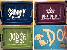 Personalized Dog Food Containers using custom cut vinyl