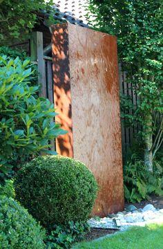 Cortenstahl Wasserwand 200 Gartenbrunnen im modernen Edelrost Design made in Germany BRUNNENSCHMIEDE