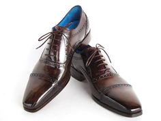 47279ebfc2a1 Paul Parkman Men s Captoe Oxfords Anthracite Brown Hand-Painted Leather  (ID 024-ANTBRW). Soulier HommeChaussures ...