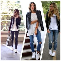 White-Trainers-Outfits, looks con deportivas blancas cosas que ponerse ежед Outfit Jeans, Lässigen Jeans, T Shirt And Jeans, Work Jeans, Outfit Work, Casual Chic, Look Casual, Casual Jeans, Moscow