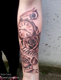 Pocket Watch and Roses Tattoo | London based Tattoo Artist - Marie TerryLondon based Tattoo Artist – Marie Terry