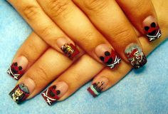 Hand Painted Disney/Pirate Nails!