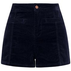 Navy Cord High Waisted Shorts (115 BRL) ❤ liked on Polyvore featuring shorts, blue pattern, cord shorts, pocket shorts, print shorts, mini shorts and navy blue shorts
