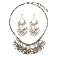 This 2-piece statement jewelry set flaunts linked circles and sophisticated details for an unexpected festive feel. Made of bronze-tone brass. Necklace measures 17.5 inch with 3 inch extension in length with 1.5 inch in drop and secures with lobster claw clasp. Earrings measure 2.5 inch in length, 1 inch in width. Posts with butterfly back closures.