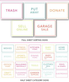 Printable Sorting Signs and Category Signs