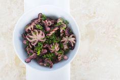 Marineret baby-blæksprutte-salat