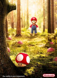 Nintendo Ad - Mario in a Forest game illustration Nintendo World, Nintendo Sega, Nintendo Pokemon, Super Mario Art, Super Mario World, Gift Animation, Super Mario Brothers, Old Games, Creative Advertising