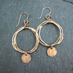 Bronze Hoop Earrings  Hammered Metal  Brushed by JessicaCoxJewelry
