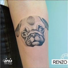 Doesn't your heart melt when you look at this face?Ink by Renzo. #InkedMagazine #pug #dog #tattoo #tattoos