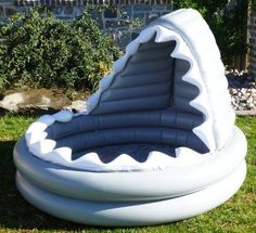 Could be a cool reading center! Pottery Barn Kids Inflatable Shark Kiddie Pool… - All For Backyard Ideas
