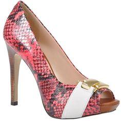 Peep toe de couro com estampa cobra clássica na cor rosa chiclete - Jorge Bischoff