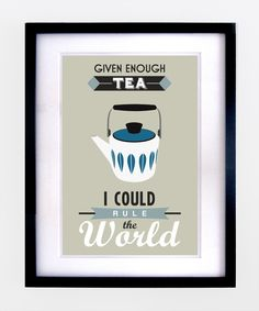 Retro Tea Quote Print - Blue