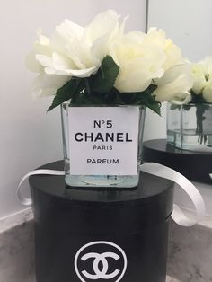 Ready Made Chanel Perfumes Inspired Creamy White Roses Floral Arrangement Small Glass Cube Vase by KarinaPollLtd on Etsy