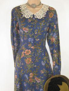 LAURA ASHLEY Vintage Edwardian Style Lace Collar Long-Length