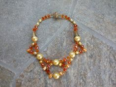 Dramatic Pearl  and Orange Crystal Necklace by BlingBeaderBaubles, $25.00