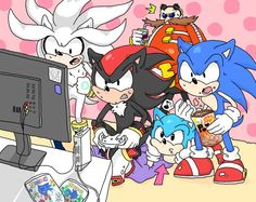Everyone watching Shadow play one of Sonic's games. I love classic Sonic's face in this, LOL!