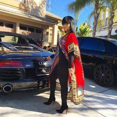 Blac Chyna In Dashiki Outfit African Attire, African Wear, African Tops, African Style, African Inspired Fashion, African Fashion, Ankara Fashion, Black Chyna, Fashion Killa