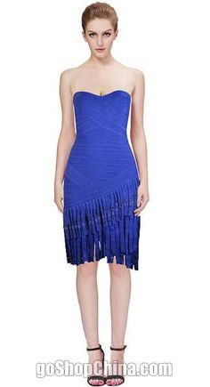 Sexy Celebrity Bandage Dresses Strapless fringe blue sale cheap from China. Fast shipping worldwide! Check more styles on our site.