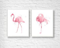 SET of Two Flamingos Watercolor Art Prints, Flamingo Painting, Home Wall Décor…