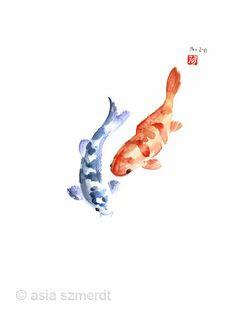 Orange, Rouge, Blue Fish Poissons Carpe océan Zodiac animale mondiale de l'eau Couleurs poissons GICLEE de beaux-arts à l'aquarelle