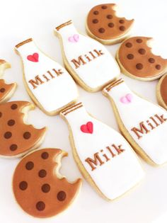 Milk and Cookies 1 dozen Milk Bottle and by SunshineBakes on Etsy, $30.00