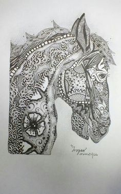 """««« MY ART JOURNAL: """"Trogan"""" by Natalie Di Vito-pencil and ink-zentangle -horse-art-signed»»»»"""