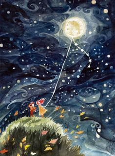 The autumn moon danced to the beat of a dance of magical light wind  (Illustration RedEyeLoon )