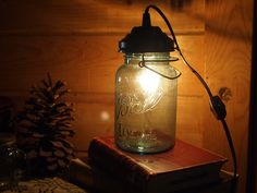 Blue Ball Mason Jar Lamp