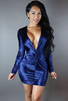541b65564ce2a Sexy Twist Front Deep V Neck Club Dress MB22578 Club Outfits Clubwear