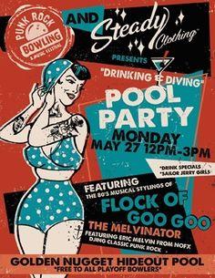 punk rock bowling poster. retro design