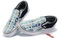 2013 Vans White/Blue Classics Circle Slip-On Shoes